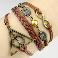 Bangle Cuff Bracelet Infinity Bracelet  Harry Potter Snitch &amp; Deathly Hallows Charm Bracelet Friendship Gift Personalized Bracelet-N1136