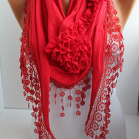 NEW- Mothers Day Gift Red Cotton Rose Shawl/ Scarf - Headband -Cowl with Lace Edge -