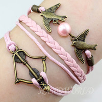 bronze arrow bracleet lover birds bracelet pink rope and pink leahter bracelet personalized adjustable -N864