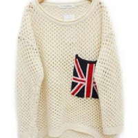 Beige Cut Loose Flag Sweater