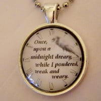 The Raven, Edgar Allan Poe Necklace. Once Upon A Midnight Dreary. 18 Inch Ball Chain.