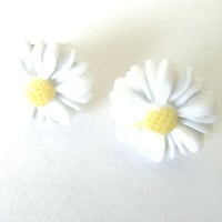 Tiny Daisy Post EArrings Pierced White Daisy With Yellow Center Stainless Steel Post