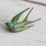 Swallow Brooch... Bird Pin Verdigris Green and Gold Vintage