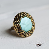 Turquoise Cocktail Ring ... Aqua Rope Scroll