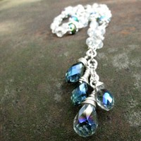 Crystal Necklace, Beaded Chain, Blue White Iridescent Black Stations