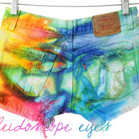 Vintage Levis LOW RISE Marbled Rainbow Dyed Destroyed Denim Cut Off Shorts XS