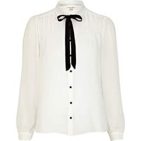 Cream contrast bow long sleeve dolly blouse