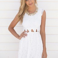 Off White Sleeveless Lace Dress with Triangle Cutout Waist
