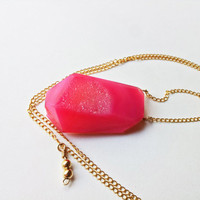 Hot Pink Druzy Necklace -14k Flat Gold Fill Chain, Thin, Boho Chic, Raw Free Form Semi Precious Gemstone