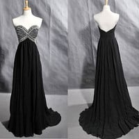 Strapless Sweetheart Chiffon Beaded Beading Crystals Prom Dress from New Dresses