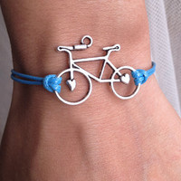 Ocean Blue Cord with Silver  Retro Bicycle charm by pier7craft