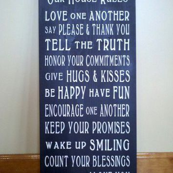 Our House Rules Word Art Typography Wood Sign   SignsofElegance - Housewares on ArtFire