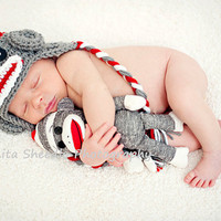 White Red &amp; Dark Gray Sock Monkey Earflap Hat with by karlyskloset
