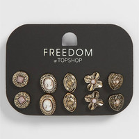 Topshop Cameo &amp; Heart Stud Earrings (Set of 4) | Nordstrom