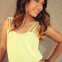 &#x27;Hermosa&#x27; Chiffon Crop Top (Lime)