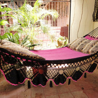 Beautiful Two Colors Fuchsia-Black Double Hammock handmade Natural Cotton Special Fringe