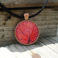 Red Orange Tree, Copper Pendant, Teen Jewelry