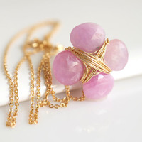 PInk Sapphire Necklace, Delicate Necklace, Bridal Necklace, Pink Necklace, Sapphire Pendant Necklace
