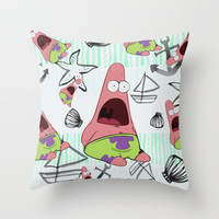 patrick star Throw Pillow by Sara Eshak