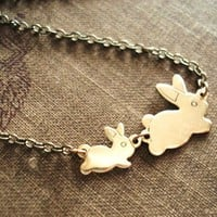 Bunny Necklace -- Gold Brass Rabbit Charms -- Flopsy and Mopsy