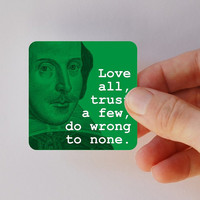 SHAKESPEARE love all square magnet by BookFiend on Etsy