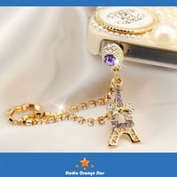 1PC Bling Rhinestone Eiffel Tower w/Bow Earphone Charm Cap Anti Dust Plug for iPhone 5, iPhone 4, Samsung S3, 2 Color Choice