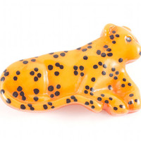 Leopard Cheetah Cat Brooch Hipster Kitsch Plastic Jewelry / Vintage 80s