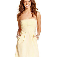 Trixxi Juniors Dress, Strapless Seersucker - Juniors Dresses - Macy's