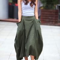 Lagenlook Maxi Skirt Big Pockets Big Sweep Long Skirt in Army Green Summer Linen Skirt - NC334