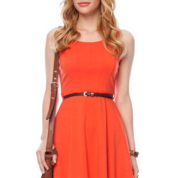 Kate Belted Dress in Orange :: tobi