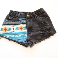 High Waisted Black Denim Shorts with Tribal Print Overlay