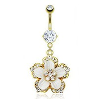 14K gold plated belly ring with dangling jeweled flower