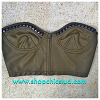 Studded Bustier Crop Top - Olive Green Faux Leather - Zipper Front - Silver, Black or Gold Studs