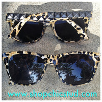 Studded Sunglasses- Leopard Print- Silver or Black or Gold Studs