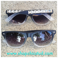 Studded Sunglasses- Black &amp; Grey Ombre- Silver or Black or Gold Studs