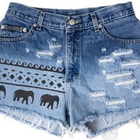 Tribal Aztec Elephant Waves Ombre Bleached Shorts Hand Painted Vintage Distressed High Waisted Denim Boho Hipster Small Medium W28