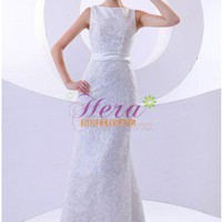 Beautiful Column/Sheath Bateau Neck White Lace Wedding Dress With Waistband