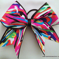 Multi Print Camo Large Cheer Hair Bow by SparkleBowsCheer on Etsy