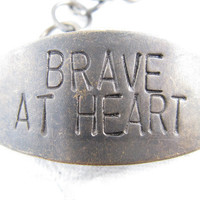 Brave At Heart Hand Stamped Jewelry Brass Bracelet by CobwebCorner