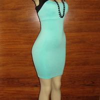 Fabulous Today&#x27;s-Stylish AQUA-GREEN Plus-Size Geometric-Bodycon Dress 1XL-14/16