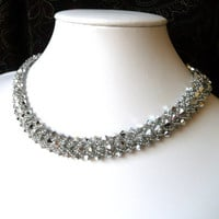 Silver Beaded Jewelry Choker Necklace by MelJoyCreations