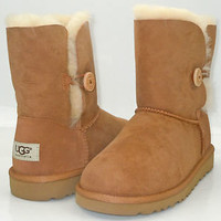 Ugg Australia Kids Girls Youth Bailey Button Fleece Sheepskin Boots 3 Colors