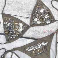 Casablanca Beauty Taupe Gem Stone Bikini