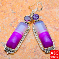 "PURPLE BOTSWANA AGATE, AMETHYST 925 STERLING SILVER EARRINGS 2 1/4"" JEWELRY"