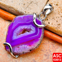 "PURPLE GEODE SLICE 925 STERLING SILVER PENDANT 1 3/4"" JEWELRY"