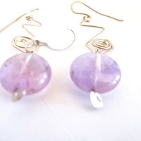 Amethyst drop earrings, artisan sterling silver and gemstone earrings. gift under 40