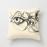 Eye Fish Doodle Throw Pillow by Olechka | Society6