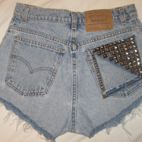 cheap high waist denim jean shorts custom made studded dyed levi&#x27;s