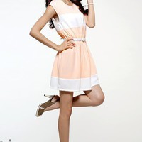 Pink Ladies Summer Round Neck Short Sleeve Chiffon Dress One Size @RKD996915p from efoxcity