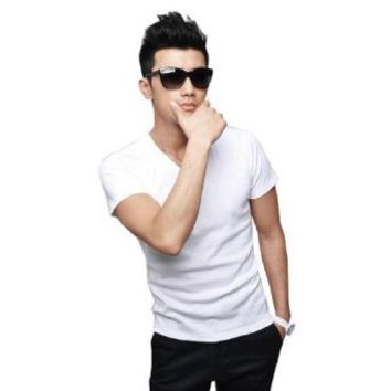Mens Korean Solid Basic Tee V-neck T-shirt